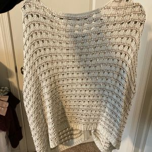 White sweater with gold and silver